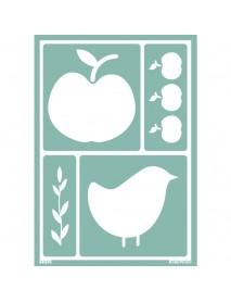 STENCIL SOFT ΑΥΤΟΚΟΛΛΗΤΟ A5, APPLE/BIRD