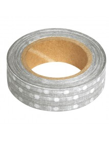 WASHI TAPE 15MM 15M SILVER DOTS