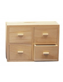 WOODEN CHEST, WITH 4 DRAW