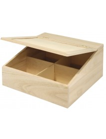 WOODEN BOX WITH FLAP LID 24X24CM