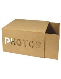 Papier-mache slide box w. punching, 22x17x12,5 cm,