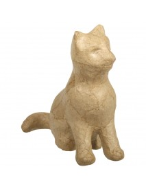 Papier-mache cat, sedentary, 9x4x9cm