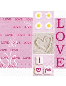 Napkin, 33x33 cm , Pink Love, bag 20 pc