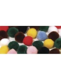 Pompons, mixed, 10 mm, tab-bag 65 pcs.