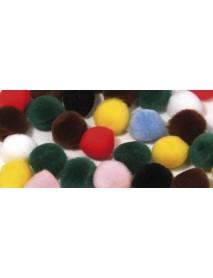 Pompons, mixed, 15 mm, tab-bag 60 pcs.