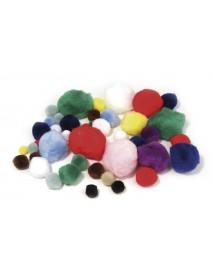 Pompons, Colours + sizes assorted, tab-bag 100 pcs.