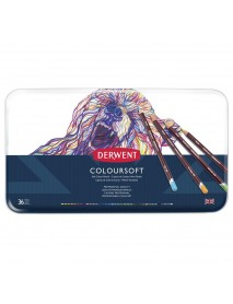Derwent Μεταλλική Κασετίνα Με 36 Μολύβια Coloursoft