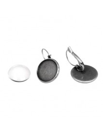 Metal-enclosure:Earring 1,7cm oxidized silver cabochon