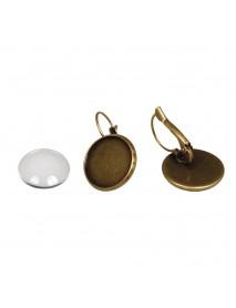 Metal-enclosure:Earring 1,7cm oxidized gold cabochon