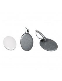 Metal-enclosure: earring oxidized silver 1.8x2.5cm cabochon