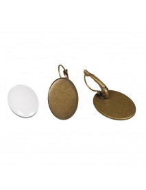 Metal-enclosure: earring oxidized gold 1.8x2.5cm cabochon