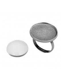Metal-enclosure: Ring 2,1cm oxidized silver cabochon