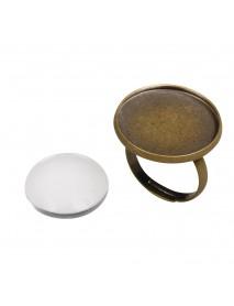 Metal-enclosure: Ring 2,1cm oxidized gold cabochon