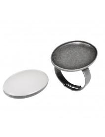 Metal-enclosure: Ring oxidized silver 1.9x2.6cm cabochon