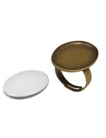 Metal-enclosure: Ring oxidized gold 1.9x2.6cm cabochon