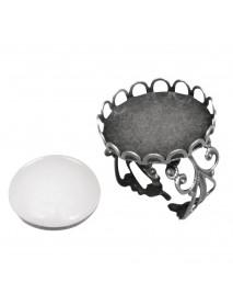 Metal-enclosure:Ring with deco border oxidized silver cabochon