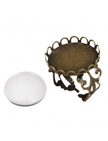 Metal-enclosure:Ring with deco border oxidized gold cabochon