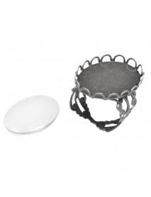 Metal-enclosure: Ring deco corder oxidized silver 1.8x2.5cm cabochon