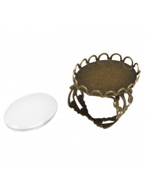 Metal-enclosure: Ring deco corder oxidized gold 1.8x2.5cm cabochon