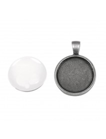 Metal-enclosure: Pendant 2,2cm oxidized silver cabochon
