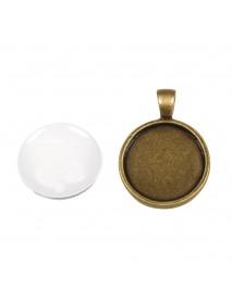 Metal-enclosure: Pendant 2,2cm oxidized gold cabochon