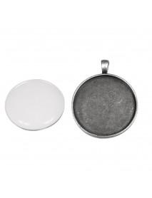 Metal-enclosure: Pendant 3,7cm oxidized silver cabochon