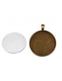 Metal-enclosure: Pendant 3,7cm oxidized gold cabochon