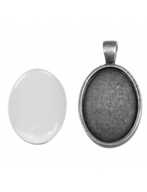 Metal-enclosure: Pendant oxidized silver 2x2.7cm cabochon