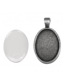 Metal-enclosure: Pendant oxidized silver 3.2x4.2cm cabochon