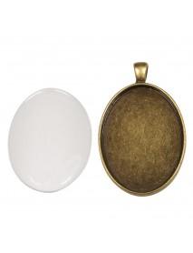 Metal-enclosure: Pendant oxidized gold 3.2x4.2cm cabochon
