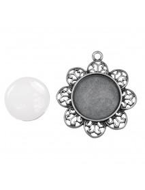 Metal-enclos.:Pend. deco border 4,3cm oxidized silver cabochon