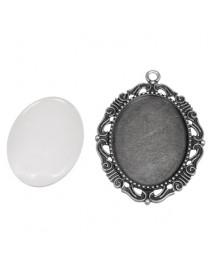 Metal-enclosure:Pendant deco border oxidized silver 4.3x5.2cm cabochon