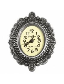 Metal- clockwork deco border oxidized silver 2.5x3.2cm