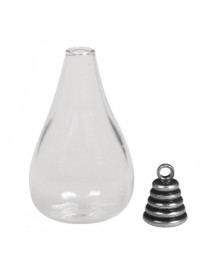 Glass Pendant: Drops metal clasp oxidized silver 1.8x3.5cm