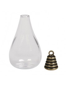 Glass Pendant: Drops metal clasp oxidized gold 1.8x3.5cm