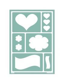 STENCIL ΑΥΤΟΚΟΛΛΗΤΟ A5 HEART N FLOWER