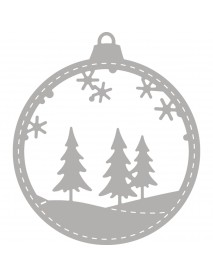 Punch template: Baubles, 6.5x7.4cm, with Winter forest