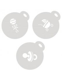 SET 3 STENCIL FOR CUPCAKES&CAPPUCCINO 10CM