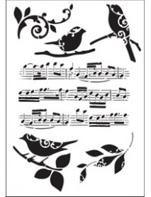 STENCIL MUSICAL NOTES 20X30CM