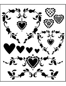 STENCIL COUNTRY HEARTS 33X40CM