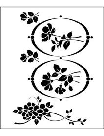 STENCIL FLOWERS N OVALS 30X40CM