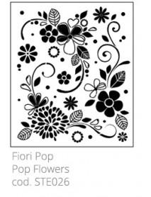 STENCIL POP FLOWERS 33X40CM