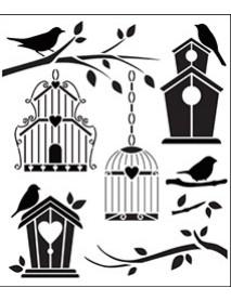 STENCIL BIRDS HOUSES 33X40CM