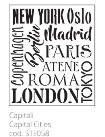 STENCIL CAPITAL CITIES 30X40CM