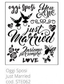 STENCIL JUST MARRIED 30X40CM
