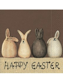 COCTAIL NAPKIN 25X25 HAPPY EASTER BUNNIES