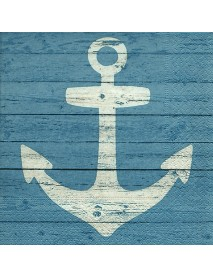 NAPKIN 33X33 ANCHOR SIGN BLUE