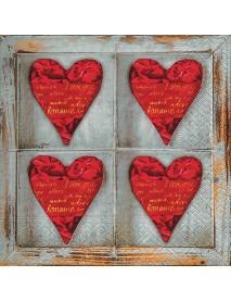 NAPKIN 33X33 FOUR HEARTS