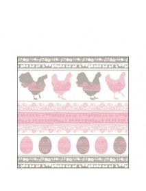 COCTAIL NAPKIN 25X25 EASTERN SILHOUETE PINK/TAUPE