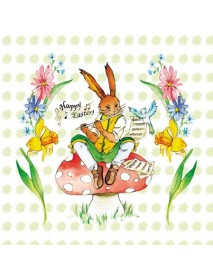 COCTAIL NAPKIN 25X25 EASTER SONG GREEN